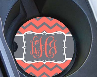 Chevron monogram car coaster, Coral and gray, Preppy girl's car accessory, Personalized auto accessories, Initials cup holder coaster (9912)