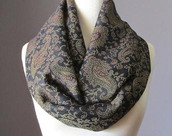 Black infinity scarf, Black scarf, pashmina, paisley scarf
