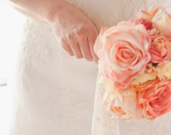 Peach Coral Custom Order Bridal Bouquet