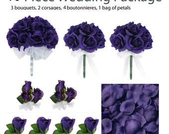 10 Piece Wedding Package - Silk Wedding Flowers - Bridal Bouquets - Purple Bouquets