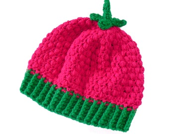 Raspberry Hat. Raspberry Beret. Pink & Green Crochet Beanie. Womens Cosy Winter Hat. Kawaii Beanie. Fruit Hat. Vegan Hat. Cute Gift for Her.