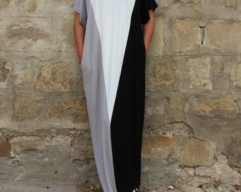 Long black dress/ Maxi dress/ Casual dress/ Black and white dress/ Kaftan/ Plus size dress/ Plus size clothing