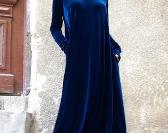 New Maxi Velvet Deep Royal Dress / Kaftan Dress / Side Pockets Dress / Extravagant Long Party Dress / Turtle Neck Kaftan by AAKASHA A03498