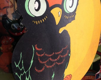 Vintage Halloween 1940's Owl on Moon Die Cut Halloween Decor Display Collectible
