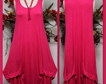 Quirky and Designer, Lagen look Walkabout, Plus size Maxi Dress. AVAILABLE L TO 4XL
