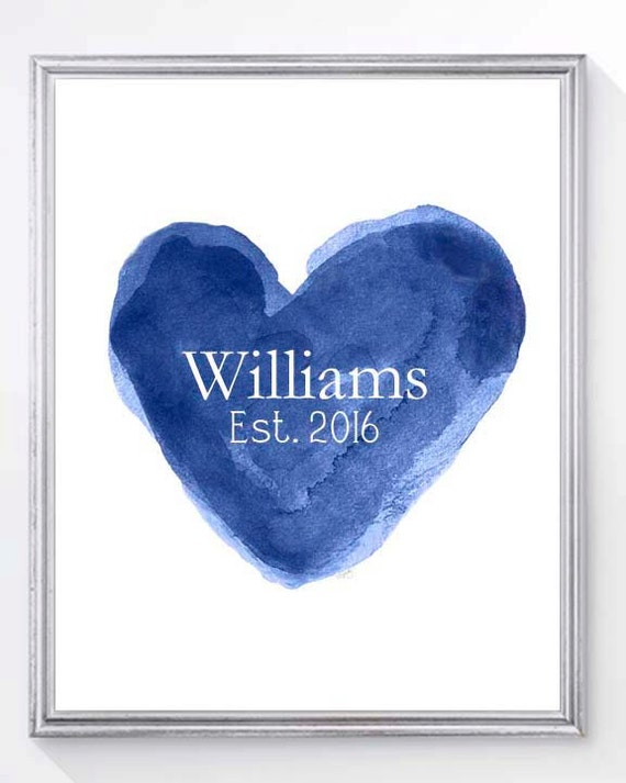 Paper Anniversary Gift, 8x10 Family Name Print in Navy