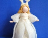 White Fairy Waldorf inspired needle felted doll/soft sculpture: Star Fairy