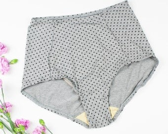 High Waisted Panty Set of 2 Retro Style Knickers Polka Dot Bamboo FINAL SALE