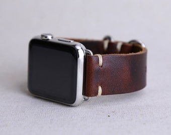 Apple Watch Band: Horween Leather Strap in Color 8 Chromexcel, Apple Watch Adapters, Metal Loops