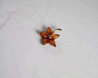 Silver (925) and amber pendant - flower - vintage