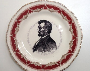 Vintage Abraham Lincoln Plate Altered Art