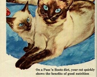 Siamese Cats Puss 'n Boots Cat Food Print Ad Blue Eyes Kitten Family Pet 1950's Original