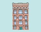 Instant Download, Architecture Art, Printable Art, House Drawing Illustration, New York Building Illustration, Digital Download