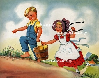 Art for Baby's Nursery, Vintage Nursery Rhyme Print Restored Art Nursery Print #290  (Set One)