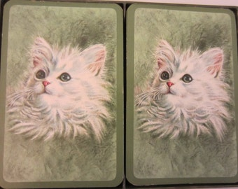2 Decks Vintage Original Hallmark Fluffy White Angora Cat Green Playing Cards in Plastic Case