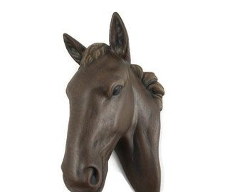 Ceramic Horse Head for Wall Decor  - 7 inches - hand painted, decor