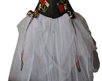 Amazing, Freaky Faux Leather Corset and Skirt Goth Gothic Wedding Gown Dress