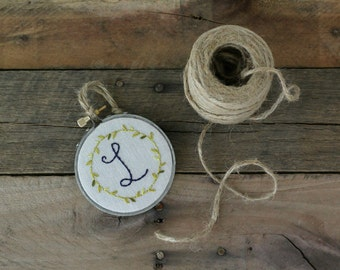 Navy Initial Embroidery Hoop / Personalized Gift / Custom Embroidery Hoop / Tiny Embroidery Hoop by The Penny Runner