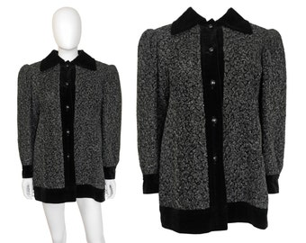 Yves Saint Laurent YSL c. 1980 Vintage Astrakhan Persian Lamb Wool Jacket Grey Black Velvet 1970s 1980s US Size 6-8 Small