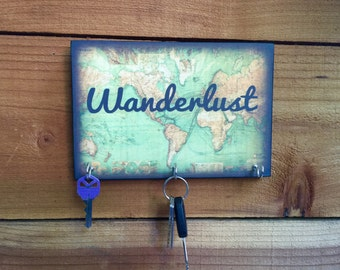 SALE Key Holder WANDERLUST Key Holder & Wood Mounted Wall Art.  PERsONALIZE YOuR OwN. 2 Sizes Available
