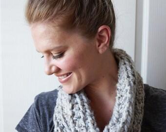 Gray Chunky Cowl Crochet Infinity Scarf