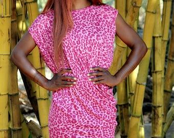 Midi Oversize Dress / Asymmetric Dress / Pink Tunic / Free Size Women Dress / Oversize Dress / Twisted Dress / Beach Dress