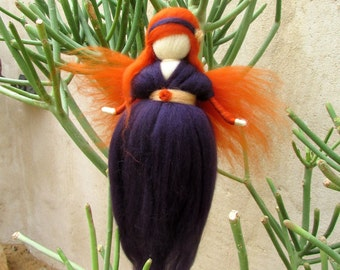 Purple Angel,Doll,Wool Fairy Ornament,Waldorf Needle Felted,Girl's gift.