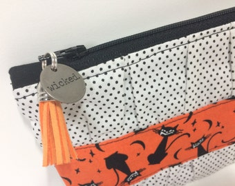 Wicked Cats Ruffled Halloween Clutch. Metal Charm + Tassel Pull. Black, Orange. Spooky Pencil Pouch. Cat Makeup Bag.