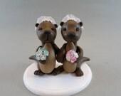 Custom Handmade Sea Otter Wedding Cake Topper - reserved for malts2007