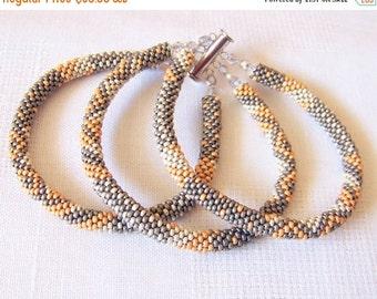 15% SALE Beadwork - 3 Strand Bead Crochet Rope Bracelet in grey, silver and golden colors - beaded jewelry - seed beads bracelet - pastel