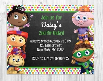 printable Super Why birthday party invitation