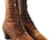 1901-1910 Edwardian Ladies Leather Boots Size 7-7.5