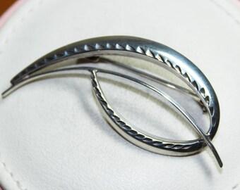 Vintage Silver Swirl Minimalist Brooch by A*D