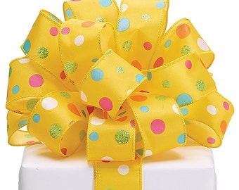 Ribbon P0LKA YELLOW satin multi-color  Wired edge.- WREATHS, Spring Garlands, Hair Bow, Floral ,Packaging Supply, Lilly