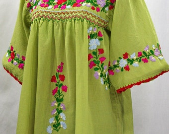 """Mexican Peasant Blouse Top Hand Embroidered: """"La Marina"""" Green + Multi"""