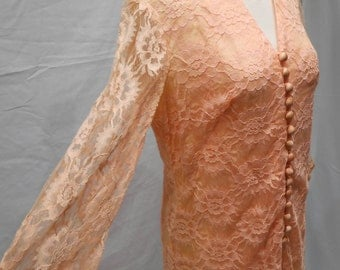 Vintage 1950s Peach Lace Button Up Cut Out Dress Mother of the Bride Formal Mid Lenght