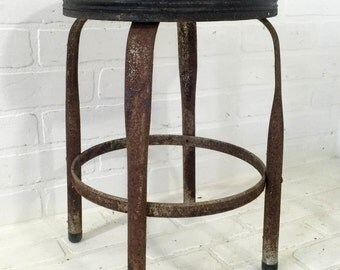 Small Rusty Metal Industrial Shop Stool Vintage Mid Century Chair