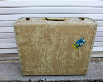 Large Vintage Samsonite Suitcase Faux White Leather Marble Luggage Garment Hanger Green Lining Travel Case Schwader Brothers