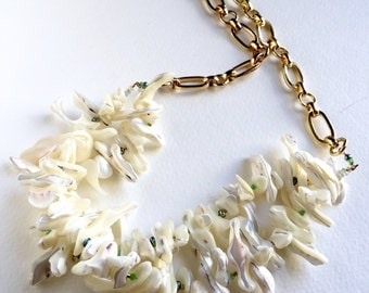 Creamy Mother of Pearl Frangia  Statement Necklace by KarenWhalenDesigns