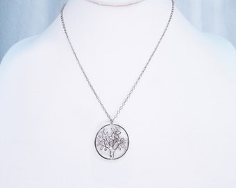 Silver tree coin necklace, back to school silver filigree tree coin teacher necklace, fall tree of life necklace, tree jewelry birthday gift