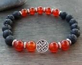 Mens black bracelet Black lava, red carnelian bracelet & 925 sterling silver celtic knot Mens mala bracelet Buddhist bracelet Energy beads