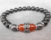 Mens cross bracelet Mens bracelet beads Gift for Men Courage & Protection bracelet Carnelian, Black onyx bracelet Templar cross jewelry
