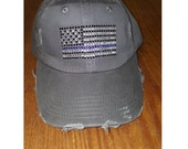Thin Blue Line Flag Hat - Bling Hat - Police Support Hat -  Distressed Ladies Hat -Distressed Hat - Weathered Hat - Thin Blue Line Hat