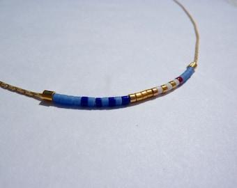 Multi-Color Beaded Necklace, Minimalist Gold Beaded Necklace, Boho Minimalist Necklace, Boho Chic Necklace, Thin Necklace, Bright Necklace