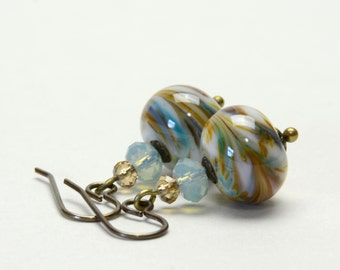Aqua Blue and Golden Brown Lampwork Glass Earrings - Natural Brass Earwires