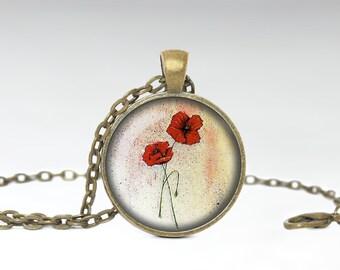 Poppy Flower Pendant, Flower Jewelry, Poppy Flower Necklace [A42]