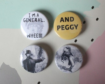 Hamilton Buttons or Magnets Pack - 4 Pinback Buttons (2nd edition)