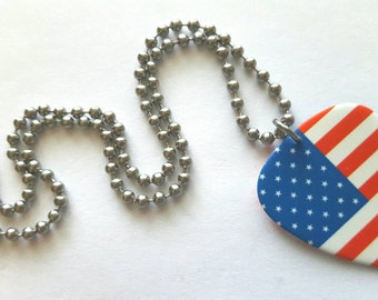 USA Flag Guitar Pick Necklace with Stainless Steel Ball Chain