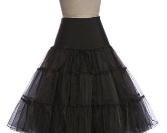 BLACK Petticoat//50s-style Petticoat Crinoline//Vintage inspired Underskirt//Tea Length Petticoat//S-XL// 11 Colors