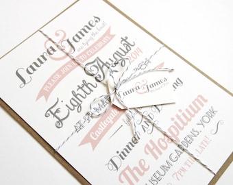 Vintage Type Wedding Invitation SAMPLE